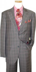 Azione by Zanetti Brown With Mauve / Champagne Windowpanes Super 120's Suit ZZ37611