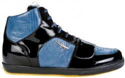 "Belvedere ""Magic 2902"" Black/Jean Genuine Crocodile / Lizard And Patent Leather Sneakers With Crocodile On The Side"