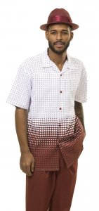 Montique Brown / White Diamond / Polka Dot Woven Front Short Sleeve Outfit 1874