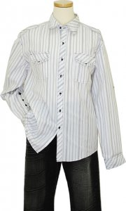 Manzini White With Charcoal / Smoke Grey Stripes 100% Cotton Casual Shirt