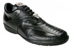 "Belvedere ""Bene"" Black Genuine Ostrich And Leather Casual Sneakers 2010."