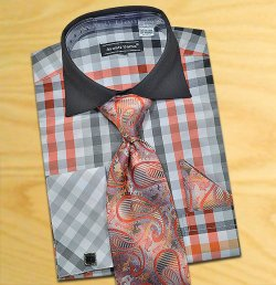 Avanti Uomo Black / Grey / Red Check Design Shirt / Tie / Hanky Set With Free Cufflinks DN60M.