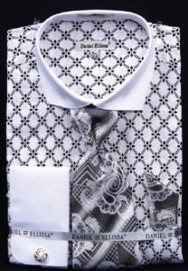 Fratello White / Black Diamond Weave Design 100% Cotton Shirt / Tie / Hanky Set With Free Cufflinks FRV4126P2.