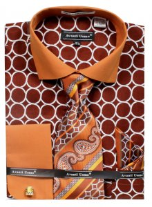 Avanti Uomo Brown Circle Pattern French Cuff 100% Cotton Shirt / Tie / Hanky Set With Free Cufflinks DN68M.