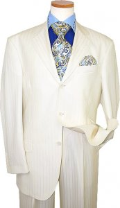 Extrema by Zanetti Cream Shadow Stripes Super 120's Wool Suit ZM41312