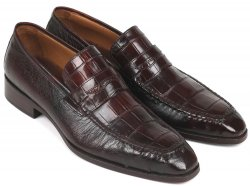 "Paul Parkman ""19CR11-BRW"" Brown Genuine Crocodile / Ostrich Penny Loafer Shoes ."