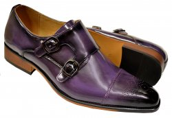 UV Signature Purple Hand Burnished Vegan Leather Double Monk Strap Shoes G6859-389