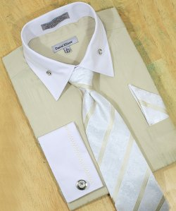 Daniel Ellissa Beige / White With Embroidered Design Shirt/Tie/Hanky Set DS3736P2