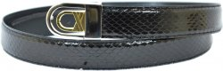 Serpi Black Genuine Snake Skin Belt S/30