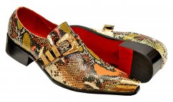 Fiesso Black / Camel / Red / Gold Python Print Leather Monk Strap Shoes FI7469