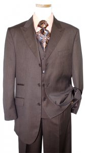 Bertolini Chocolate Brown With Beige Pinstripes Super 140'S Merino Wool & Silk Blend Suit 68807