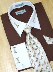 Fratello Brown With Brown / Beige Laced Spread Collar And French Cuffs Shirt/Tie/Hanky Set FRV4105P2