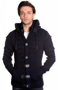 LCR Navy Blue Modern Fit Wool Blend Hooded Zip-Up Cardigan Sweater 5607