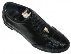 "La Scarpa ""Zeus"" Black Genuine Ostrich And Lambskin Leather Casual Sneakers With Silver Alligator On Front"