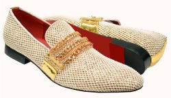Fiesso White / Gold Woven Leather Lined Slip-On With Metal Toe / Chains FI7475
