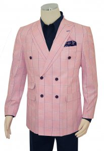 Cigar Couture Pink / Navy / Royal Blue Windowpane Double Breasted Cotton Blazer LJ-820