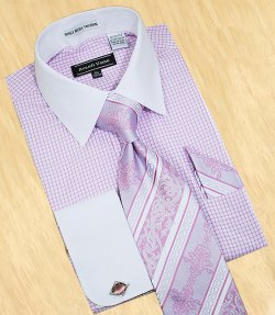 Avanti Uomo White / Lilac Checks With White Spread Collar Shirt / Tie / Hanky Set With Free Cufflinks DN44M