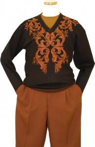 Prestige Brown With Cognac Embroidered Paisley Design V-Neck Knitted Sweater