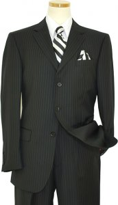 Mantoni Black Chalk Stripe Super 140's 100% Virgin Wool Suit 66017