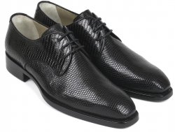 "Paul Parkman ""433LK27"" Black Genuine Iguana Goodyear Welted Shoes."