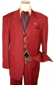 Stacy Adams Burgandy With Peach Stitching Super 150's Vested Poly Suit