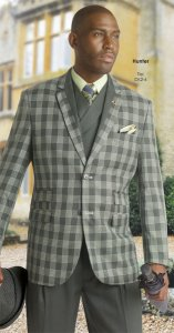 E. J. Samuel Hunter / Cream Plaid Suit M2637