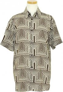 Pronti Brown / Cream Geometric Design Short Sleeve Shirt S5940