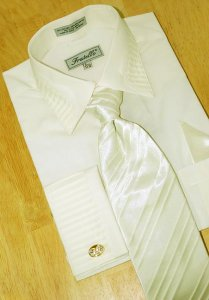 Fratello Ivory Pleated Collar /Pleated French Cuffs Shirt w/Pleated Tie/Hanky Set FRV4103