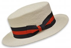 Bruno Capelo White Straw Boater Hat With Blue / Red Band BC-631