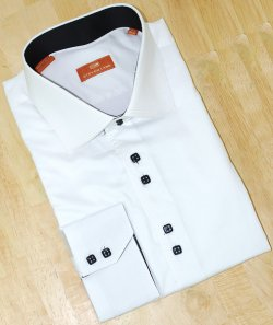 Steven Land White With Quadruple Handpick Stitching 100% Cotton Shirt