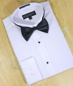 Daniel Ellissa White Cotton Blend Tuxedo Dress Shirt With Black Bow Tie