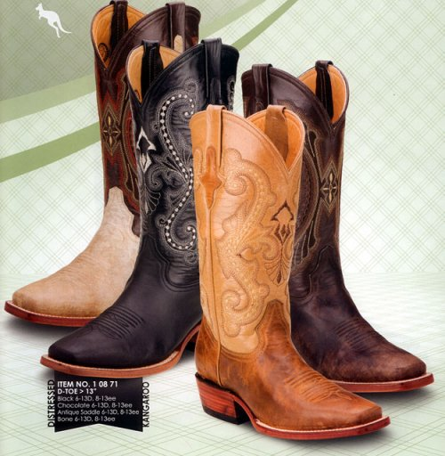 Ferrini Genuine Distressed Kangaroo Exotic Boots 10871