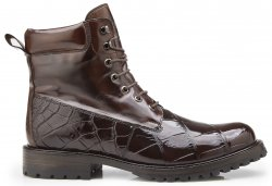 "Belvedere ""Logan"" Chocolate Genuine Alligator / Italian Calf Ankle Boots CB02."
