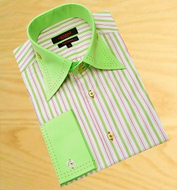 Axxess White With Lime Green / Lavender / Cranberry Stripes With Cranberry Double Handpick Stitching 100% Cotton Dress Shirt 07-19
