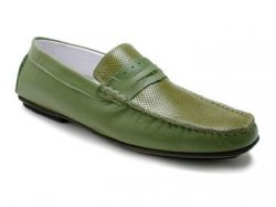 "Bacco Bucci ""1989-00"" Green Genuine Soft Supple Calfskin Loafer Shoes"