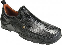 "Belvedere ""Lobo"" Black Genuine Ostrich and Leather Loafer Shoes"