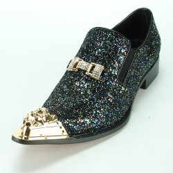 3ea2f2c4f50 Fiesso Black With Gold Metal Toe Genuine Leather Loafer Shoes With Bracelet  FI7072.