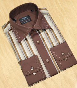 Steven Land Cream With Chocolate Brown Stripes / Cream Dual Hand Pick Stiching Design With Spread Collar Shirt DS969