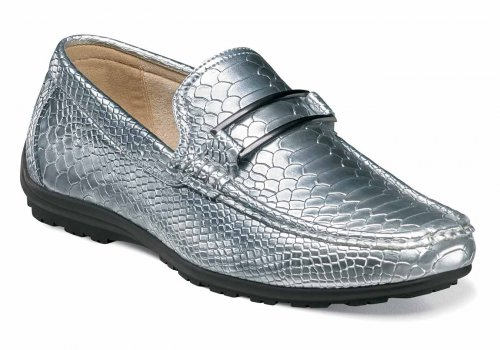 "Stacy Adams ""Lazar"" Silver / Blue Python Print Leather Lined Loafer Shoes 25081-040"