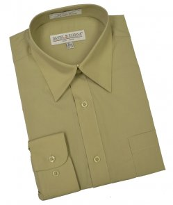 Daniel Ellissa Solid Olive Cotton Blend Dress Shirt With Convertible Cuffs DS3001