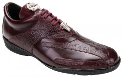 "Belvedere ""Bene"" Burgundy Genuine Ostrich and Leather Casual Sneakers"
