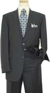 Elements by Zanetti Navy Blue Shadow Stripes Super 120's Wool Suit ZZ50172