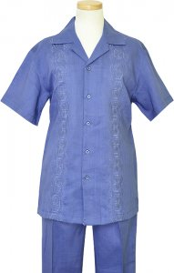Giorgio Inserti Ocean Blue 100% Embroidered Linen 2 PC Outfit 77793