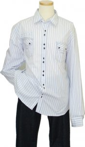 Manzini White With Navy Blue Stripes 100% Cotton Casual Shirt