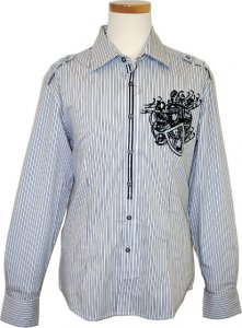 "Saint Cado ""Signature"" White / Black Embroiderey Pinstripes Long Sleeves 100% Cotton Shirt With Shoulder Straps S-2138"