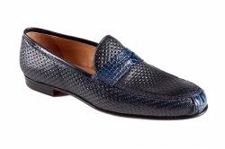 Mauri 4893 Blue Genuine Crocodile Flanks / Perforated Calfskin Loafers