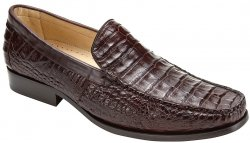 "Belvedere ""Villa"" Brown Genuine Crocodile Loafer Shoes 8012"