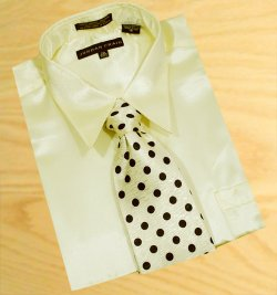 Daniel Ellissa Satin Cream Dress Shirt/Tie/Hanky Set