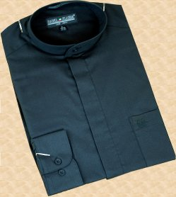 Daniel Ellissa Black Banded Collar Cotton Blend Dress Shirt DS3001C
