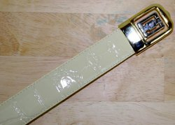 Giorgio Brutini Cream Alligator Print Leather Belt